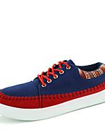 Синий / Бежевый-Мужской-Для прогулок / На каждый день-Ткань-На плоской подошве-Удобная обувь / С круглым носком-На плокой подошве