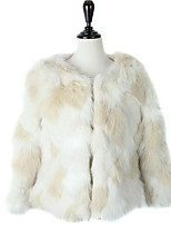 Women's Casual/Daily Street chic Fur Coat,Solid Round Neck Long Sleeve Winter White Faux Fur Thick Tops