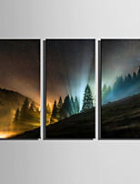 E-HOME® Stretched Canvas Art Mountain Forest Aurora Decoration Painting  Set Of 3
