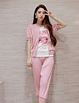 Boutique S Women's Going out / Casual/Daily Cute Spring Set Pant,Solid Round Neck Long Sleeve Pink Cotton Opaque/Set