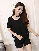Women's Going out Simple Summer Set,Solid / Patchwork Round Neck Short Sleeve Black Acrylic / Polyester Medium