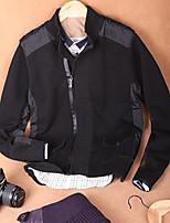 Men's Solid Casual Cardigan,Cotton Long Sleeve Black / Purple