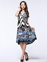 Women's Beach / Plus Size Boho Swing Dress,Animal Print Deep V Knee-length Sleeveless Black Polyester / Spandex Summer High Rise