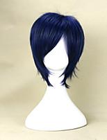 peluca cosplay peluca azul negro mezcla 35cm corta del hombre joven peluca sintética del pelo recto