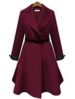 Cappotto Da donna Casual Autunno / Inverno Semplice,Tinta unita Bavero classico Poliestere Blu / Rosso Manica lunga Medio spessore