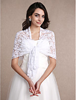 Women's Wrap Shawls Sleeveless Lace White Wedding / Party/Evening Bateau 30cm Lace Open Front