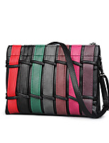 Women PU Casual Fence Striped Multicolored Stitching Color Envelope Bag Shopping Shoulder  Coin Purse  Hobo Bags