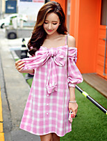 Women's Going out / Casual/Daily / Holiday Cute / Street chic / Sophisticated A Line Dress,Solid Strap Above Knee