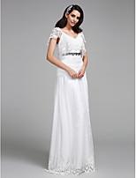 A-라인 웨딩 드레스 바닥 길이 V-넥 레이스 와 레이스 / 비즈