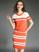 Viva Vena® Women's Round Neck Short Sleeve Sets Black / Orange-VA88224