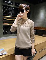 Damen Standard Pullover-Ausgehen Sexy Stickerei Grau Rundhalsausschnitt Langarm Kaninchen-Pelz Herbst Mittel