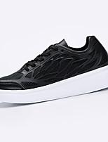 Dame-PU-Flat hæl-Komfort-Sneakers-Sport-Svart / Hvit
