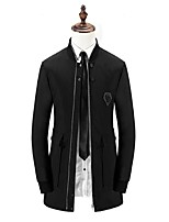 Men's Solid Casual / Work Trench coat,Polyester Long Sleeve-Black / Blue