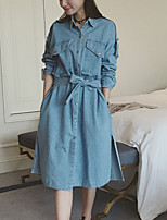 Women's Going out Simple / Street chic Trench Coat,Solid / Patchwork Shirt Collar Long Sleeve Fall Blue Cotton Medium