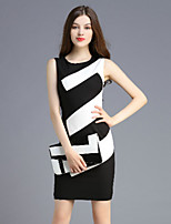 Boutique S Women's Casual/Daily Vintage Shift Dress,Striped Round Neck Above Knee Sleeveless Black Polyester Summer