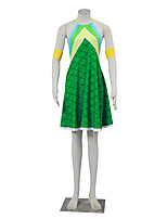 Inspiriert von Fairy Tail Winry Anime Cosplay Kostüme Cosplay Kostüme Hahnentrittmuster Gelb / Blau / Grün Ärmellos Kleid