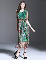 Fodero / Swing Vestito Da donna-Per uscire / Casual Semplice Monocolore Rotonda Medio Mezze maniche Verde Seta / Poliestere Estate