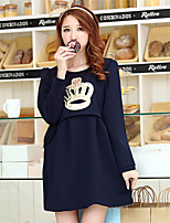 Maternity Casual/Daily Cute Loose Dress,Solid Round Neck Above Knee Long Sleeve Blue / Pink Cotton Winter