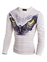 Men's Print Casual T-Shirt,Cotton Long Sleeve-Black / White / Beige