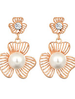 New Arrival 2016 Korean Jewelry 18K Gold Plated Hollow Flower Drop Earrings For Women Fashion Pearl Earring Jewelry