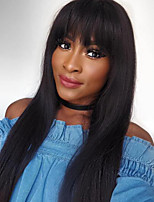 Straight Lace Front Human Hair Wigs With Bangs Brazilian Full Wigs For Black Women Color 2 Lace Front Wigs