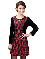 Women's Plus Size / Casual/Daily Vintage Sheath Dress,Embroidered Round Neck Above Knee Long Sleeve Polyester Fall