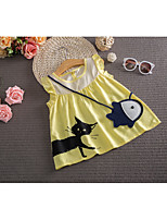 Girl's Casual/Daily Patchwork Dress,Cotton Summer Yellow
