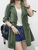 Women's Going out /  Vintage Trench Coat,Solid Shirt Collar Long Sleeve Fall Pink / Brown / Green / Yellow Cotton Thin
