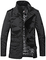 Men's Solid Casual / Sport Trench coat,Polyester Long Sleeve-Black / Beige