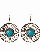 Bohemia Vintage Charm Colorful Rhinestone Crystal Hollow Flower Earrings For Women Jewelry Round Drop Earrings