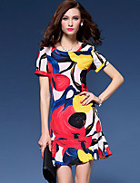 Women's Going out / Plus Size Street chic Sheath Dress,Print Round Neck Above Knee Short Sleeve Multi-color Polyester Summer