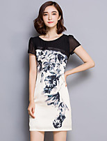 Women's Plus Size Vintage Bodycon Dress,Patchwork Round Neck Above Knee Short Sleeve Black Polyester Summer