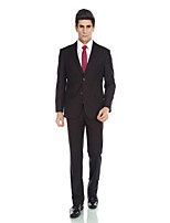 Tuxedos Tailored Fit Notch Single Breasted Two-buttons Viscose/ Wool & Polyester Blended Solid 2 Pieces Black