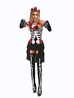 Costumes Zombie / Esprit Halloween / Carnaval / Fête d'Octobre Blanc / Noir Vintage Térylène Robe / Gants / Chaussettes / Coiffure