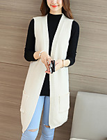 Women's Casual/Daily Street chic Long Vest,Solid Beige / Black / Gray V Neck Sleeveless Polyester Fall Medium Inelastic