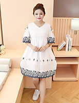 Maternity Casual/Daily Vintage Loose Dress,Embroidered V Neck Above Knee ½ Length Sleeve White Cotton Summer