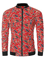 Men's Long Sleeve Casual / Sport JacketCotton / Polyester Print Black / Red