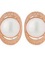2016 New Design Fashion Earrings Jewelry Elegant Geometric Oval Stud Earring 18K Gold Plated Opal Earrings for Women