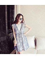 Maternity Casual/Daily Simple Loose Dress,Print Crew Neck Above Knee Sleeveless Blue Polyester Summer