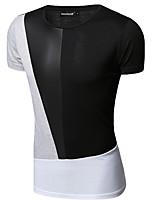 Herren T-shirt-Patchwork Freizeit Baumwolle Kurz-Schwarz / Weiß