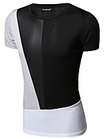 Men's Patchwork Casual T-Shirt,Cotton Short Sleeve-Black / White