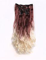 clip en extensiones de cabello ombre 7pcs / set larga peluca rizada ondulada de calor resistentes a dos extensiones de cabello de tono