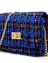 Women Casual Shopping Plaid Twist Lock Woolen Shoulder Evening Bag