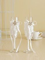 Wedding Accessories Lace Bowknot Flower Sparkling Love Bride Groom Twisted Champagne Glasses Toasting Flutes, Set of 2