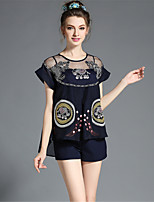 Plus SIze Women Fashion Brand See Through Embroidery Blouse+Shorts+Gallus 3Piece Set