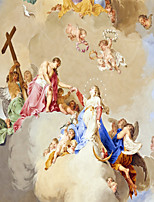 JAMMORY 3D Wallpaper For Home Contemporary Wall Covering Canvas Material Jesus and The Angels3XL(14'7''*9'2'')
