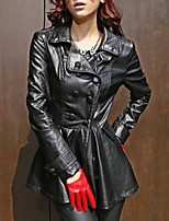 Women's Casual/Daily Street chic Trench Coat,Solid Shirt Collar Long Sleeve Winter Black PU Medium