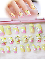 24pcs/set  Nail Art Self-Adhesive False Fake Nail Tips Stickers