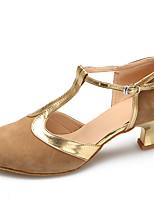 Chaussures de danse(Noir / Marron) -Personnalisables-Talon Aiguille-Daim-Latine / Moderne