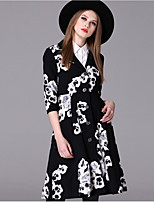 Women's Casual/Daily Simple Trench Coat,Floral Shirt Collar ¾ Sleeve Fall / Winter Black Spandex Medium